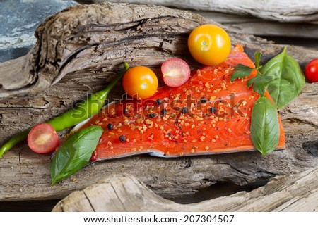 Horizontal view of raw salmon fillet, skin side down, with seasoning inside of drift wood  - stock photo