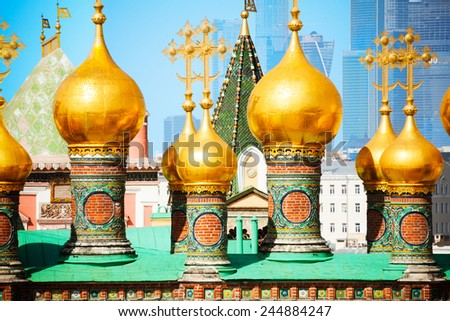 Horizontal view of the Upper savior Cathedral in Cathedral Square in Moscow Kremlin - stock photo
