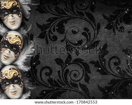 Horizontal vintage style dark masquerade background - stock photo