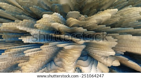 Horizontal vivid beige business extrude cube abstraction background backdrop - stock photo