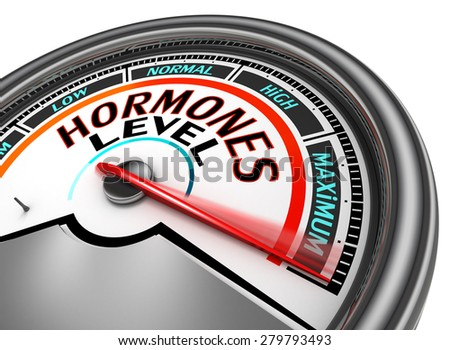 Hormones level conceptual meter indicate maximum, isolated on white background - stock photo