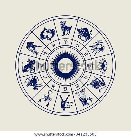 Horoscope wheel of zodiac signs with symbol - stock photo