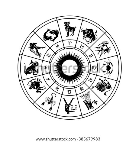 Horoscope wheel of zodiac signs with symbol - stock photo