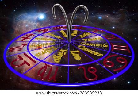 Horoscope zodiac 3d sign Aries. 3d illustration on background of a galaxy - stock photo