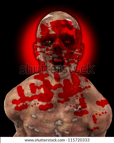 Horrible rotten Zombie caked in human blood. - stock photo