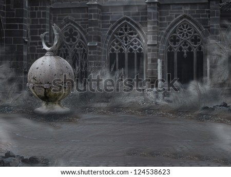 Horror. Medieval Mystic Spooky Castle with Archway in Dusk. Desolation in Mist - stock photo