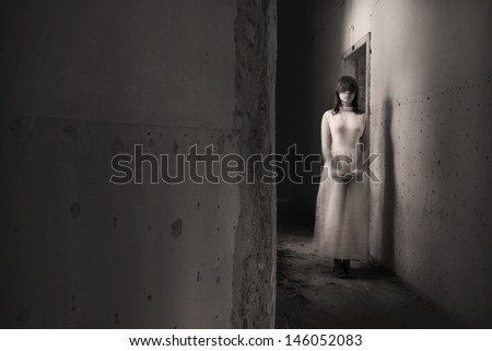 Horror movie scene:corridor girl - stock photo