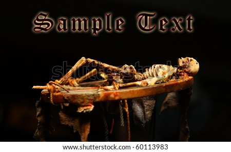 Horror scene - classic medieval execution. Unauthorized homemade work (plastic kit - scratchbuild). Great for halloween advertising. - stock photo