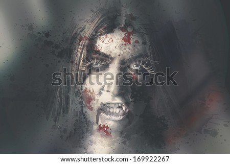 Horror scene of an evil dead vampire woman looking through bloody wet glass window with sinister stare. Night watch - stock photo