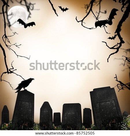 horror scene with cemetery, raven and bats silhouettes - stock photo