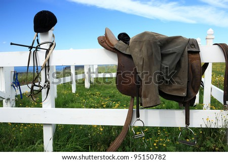 Horse back riding is very popular in Iceland - stock photo