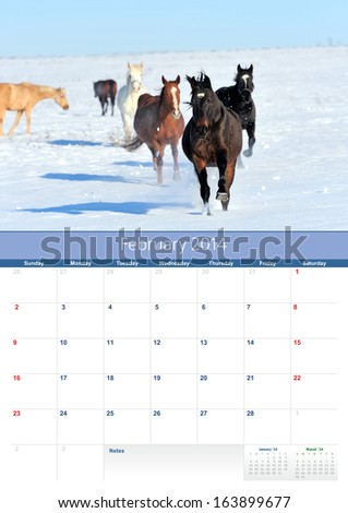 Horse Calendar 2014 year. February - stock photo