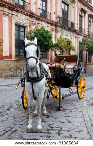 Horse carriage in Seville, Spain. - stock photo