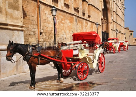Horse carriage waiting for tourists, Palma de Majorca, Spain - stock photo