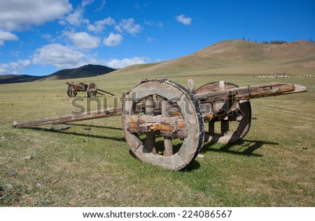 Horse cart outdated design. Mongolia - stock photo