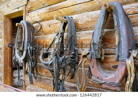 Horse collars hanging on wall of a timbered home. - stock photo