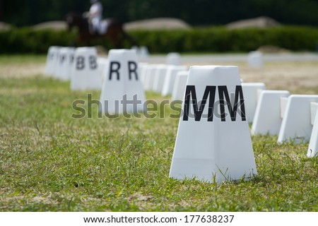 Horse dressage arena  - stock photo