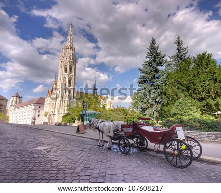 Horse driven carriage at Budapest, Hungary - stock photo