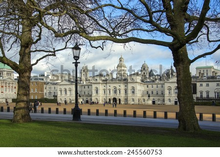 Horse Guards Parade is a large parade ground near Whitehall in central London, England. It is the site of the annual ceremonies of Trooping the Color and Beating Retreat. - stock photo