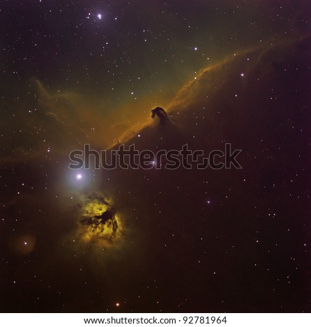 Horse Head and Flame Nebula in the Hubble Palette - stock photo