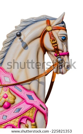 Horse in a carousel isolated over a white background. - stock photo