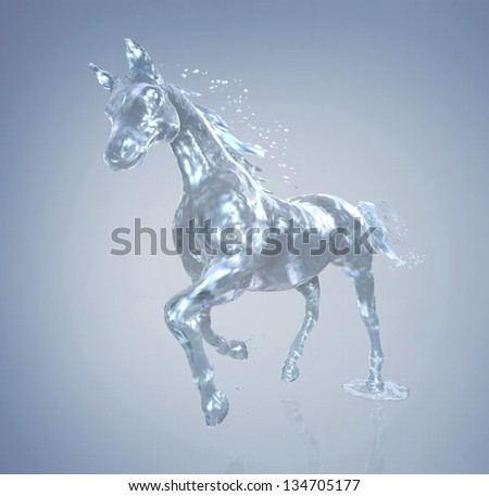 horse in motion, the horse out of the water - stock photo