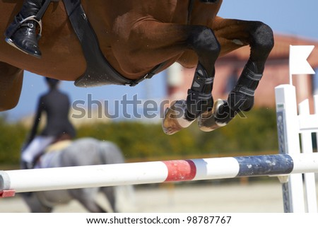 Horse jump a hurdle in a competition/Horse jump - stock photo