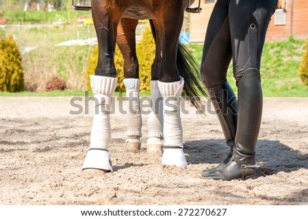 Horse legs in white bandages with riding leather horsewoman boots. Multicolored summertime outdoors. - stock photo
