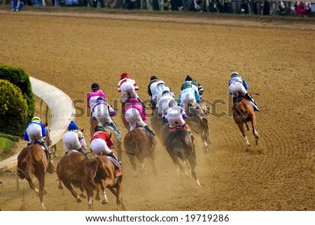 horse race - stock photo