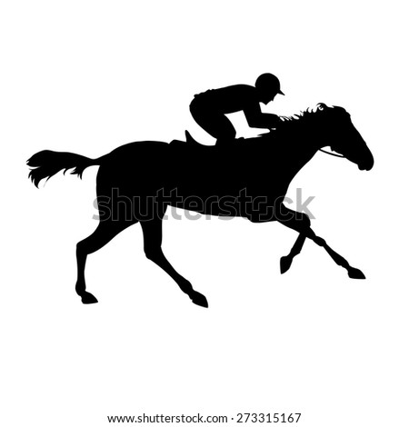 Horse race. Equestrian sport. Silhouette of racing horse with jockey on isolated background. Horse and rider. Racing horse and jockey silhouette. Derby - stock photo