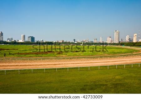 Horse Race Track in Mumbai, India. - stock photo