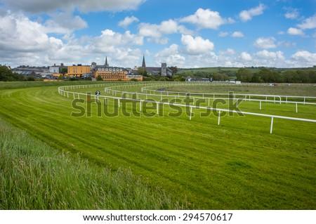 Horse racetrack landscape - stock photo