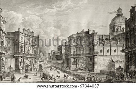 Horse racing during St. Rosalia celebrations in Palermo, Sicily. Original created by Desprez, Berthault and De Ghendt, may be dated approximately between the end of 18th and the beginning of 19th c. - stock photo