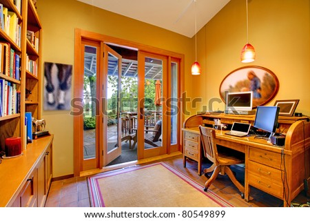 Horse ranch in Washington State. Home office room. - stock photo