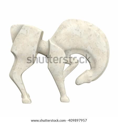 Horse sculpture. 3d illustration - stock photo