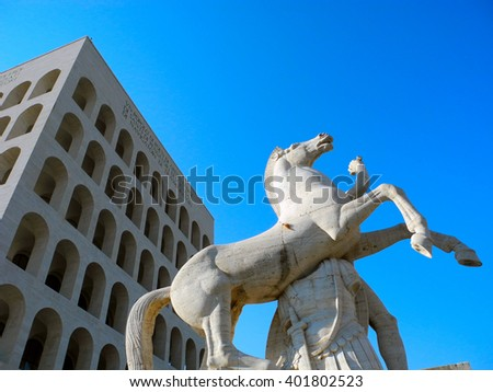 Horse Sculpture near the Square of the Colosseum in Rome. - stock photo