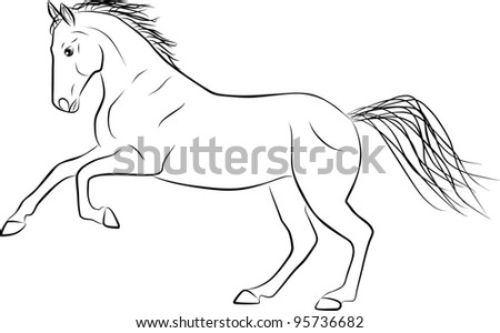 horse silhouette - freehand on a white background - stock photo