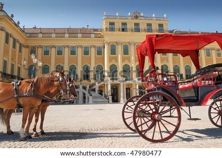 Horse team near to Schonbrunn Palace, Vienna, Austria. - stock photo
