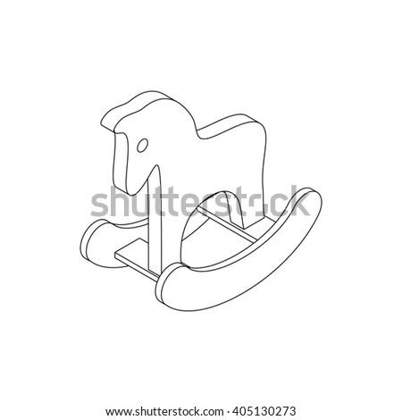 Horse toy icon, isometric 3d style - stock photo