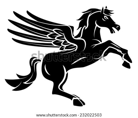 Horse Wing Tattoo - stock photo