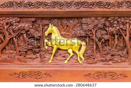 Horse wood carvings in thai land - stock photo