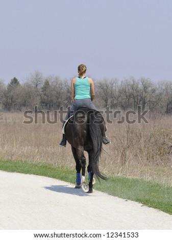 horseback rider near Chicago - stock photo