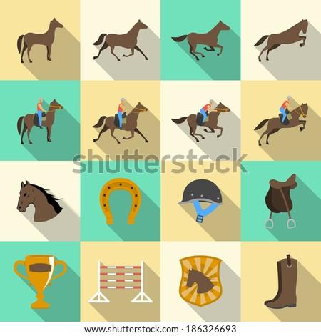 Horseback riding flat shadows icons set of horse rider sport dressage and horseshoe isolated  illustration - stock photo