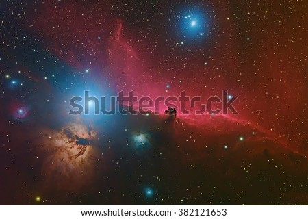 Horsehead Nebula or Barnard 33 in the constellation Orion taken with CCD camera through medium focal length telescope - stock photo