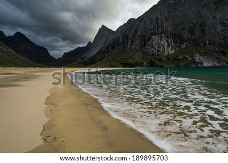 Horseid beach, Lofoten island,Norway - stock photo