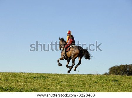 Horseman galloping at high speed in horse racing - stock photo