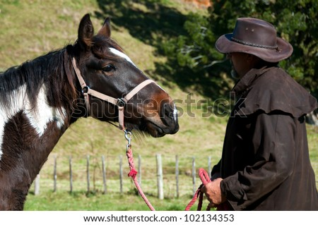 Horseman talking to horse using horse whispering technique for breaking in - stock photo
