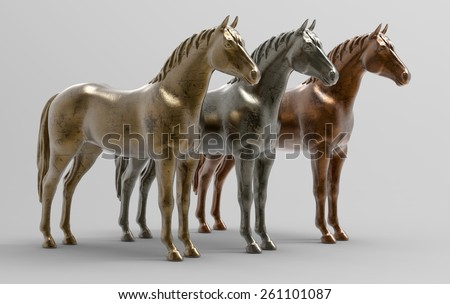 Horses in metal. Gold, silver and bronze in 3D - stock photo