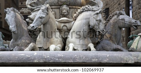 horses of marble in Florence - stock photo