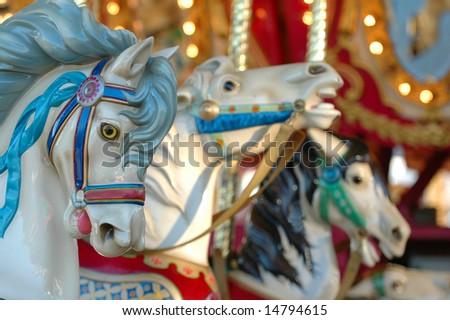 Horses on a Carousal - stock photo
